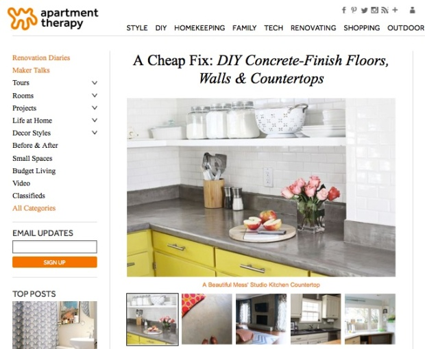 apartment therapy DIY concrete counters